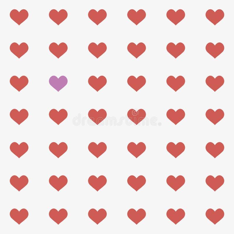 Mosaico inconsútil del corazón simple de las tarjetas del día de San Valentín stock de ilustración
