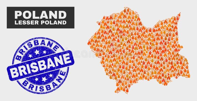 Mosaico infornato Lesser Poland Voivodeship Map e guarnizione del bollo di Brisbane di lerciume illustrazione vettoriale