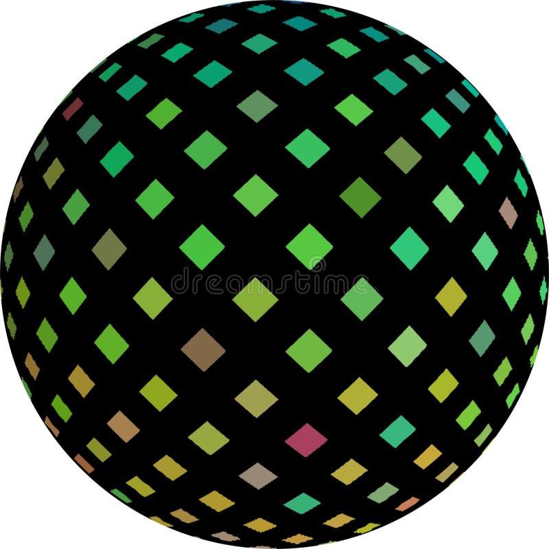 mosaico iridiscente verde del negro de la bola 3d stock de ilustración