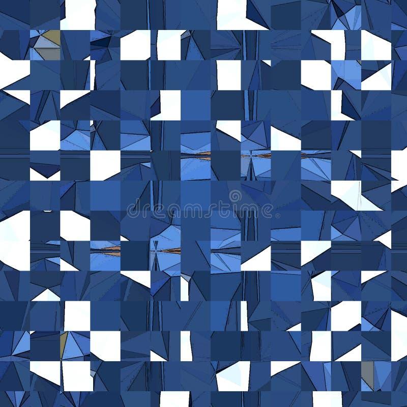 Mosaico irregular abstracto de las casillas blancas azules y libre illustration