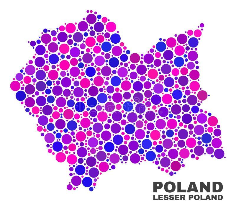 Mosaico Lesser Poland Voivodeship Map degli elementi del cerchio royalty illustrazione gratis