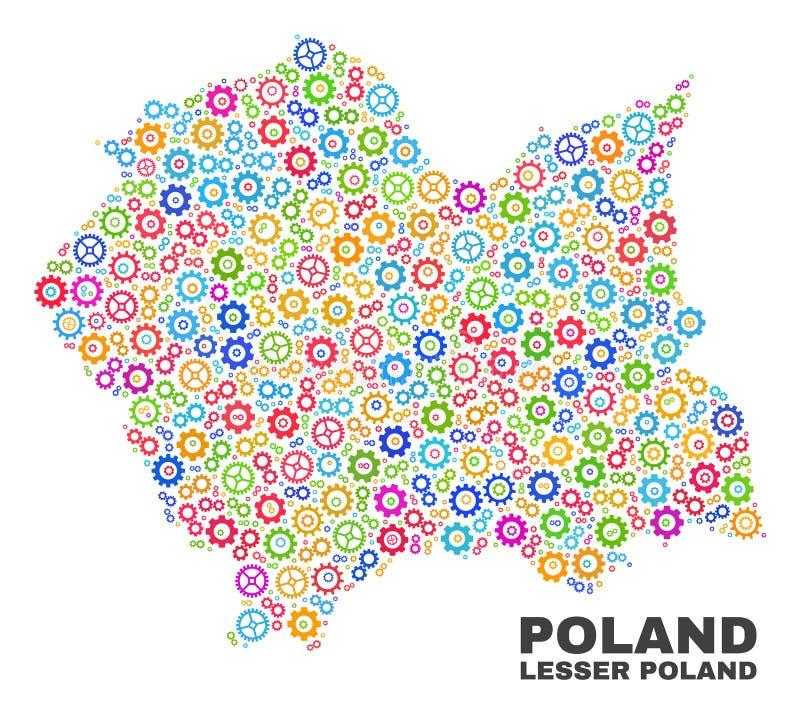 Mosaico Lesser Poland Voivodeship Map degli elementi della ruota dentata illustrazione vettoriale