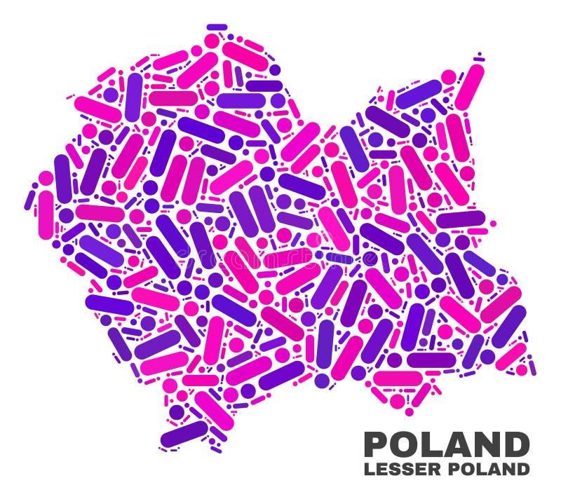 Mosaico Lesser Poland Voivodeship Map dei punti e delle linee illustrazione vettoriale