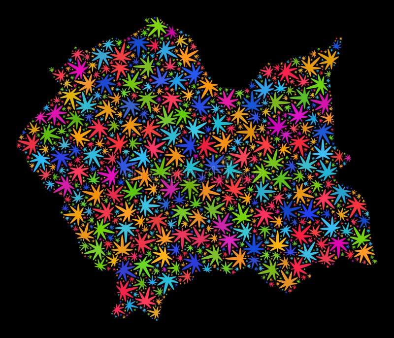 Mosaico Lesser Poland Voivodeship Map delle foglie luminose della cannabis illustrazione vettoriale