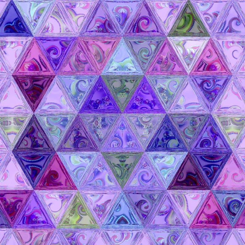 Mosaico luminoso del vetro macchiato dei triangoli del transparend in lavanda, nella viola e nei colori rosa fotografie stock