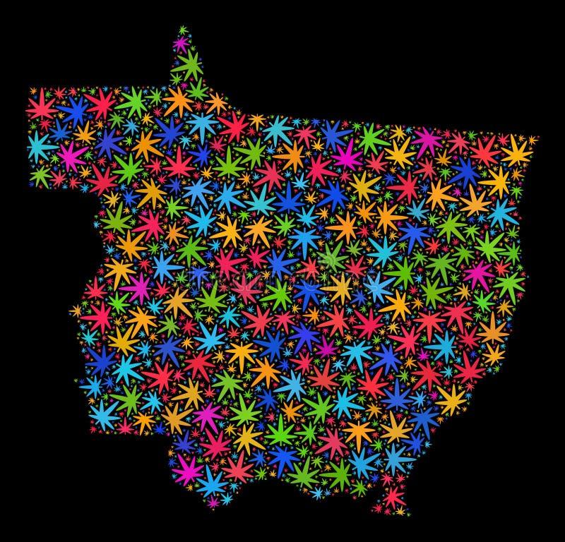 Mosaico Mato Grosso State Map delle foglie colorate Multi della cannabis royalty illustrazione gratis