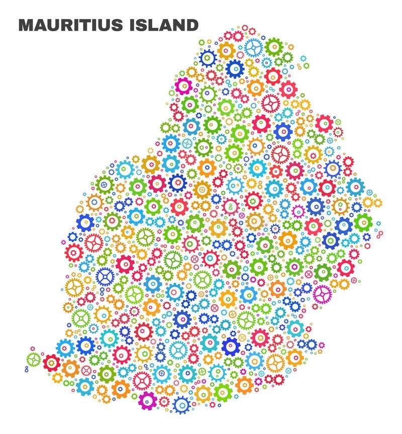 Mosaico Mauritius Island Map de artigos da cremalheira ilustração royalty free