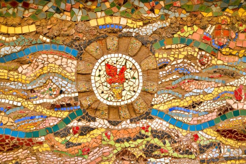 Mosaico na parede fotografia de stock