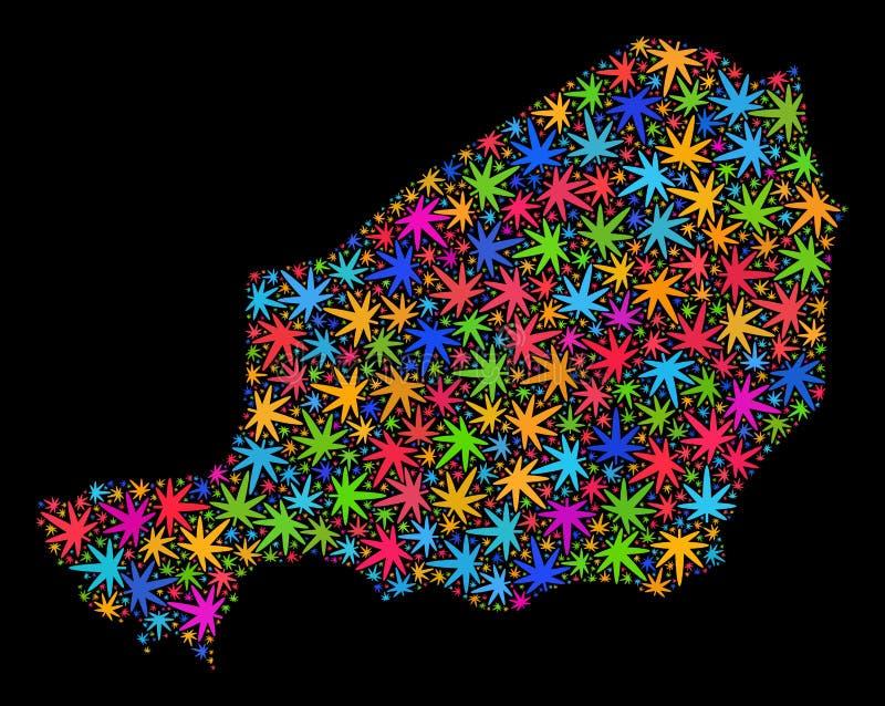 Mosaico Niger Map delle foglie colorate Multi della cannabis royalty illustrazione gratis