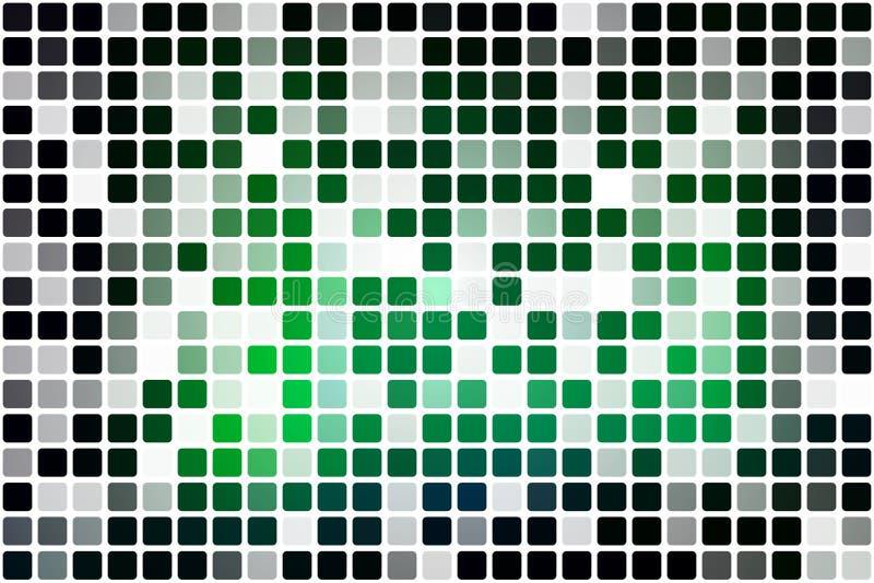 Mosaico occasionale verde al neon d'ardore di opacità sopra bianco illustrazione di stock