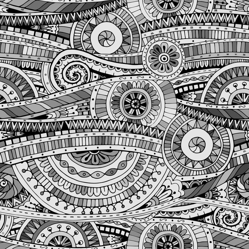 Mosaico original que tira o teste padrão étnico do doddle tribal Fundo sem emenda com elementos geométricos Versão preto e branco ilustração do vetor