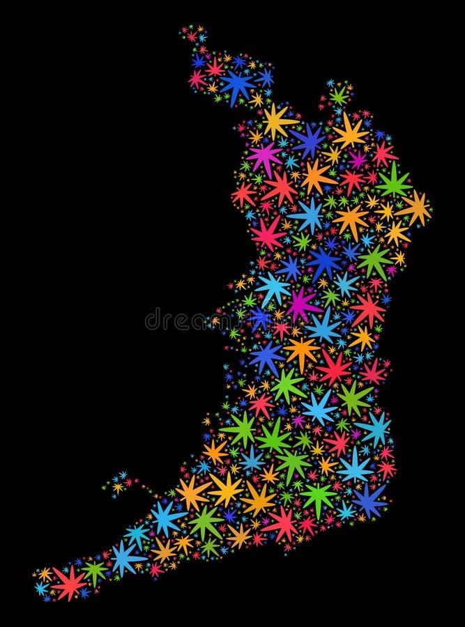 Mosaico Osaka Prefecture Map de las hojas coloridas de la marijuana libre illustration
