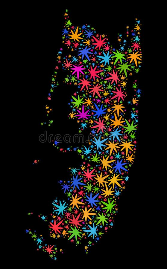 Mosaico Pemba Island Map de las hojas brillantes de la marijuana libre illustration