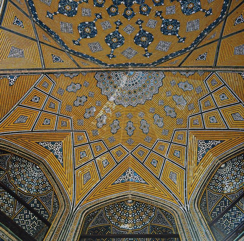 Mosaico persiano nella madre dello scià, Ispahan, Iran di madrasa fotografie stock libere da diritti