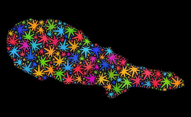 Mosaico Pico Island Map de las hojas multicoloras del cáñamo libre illustration