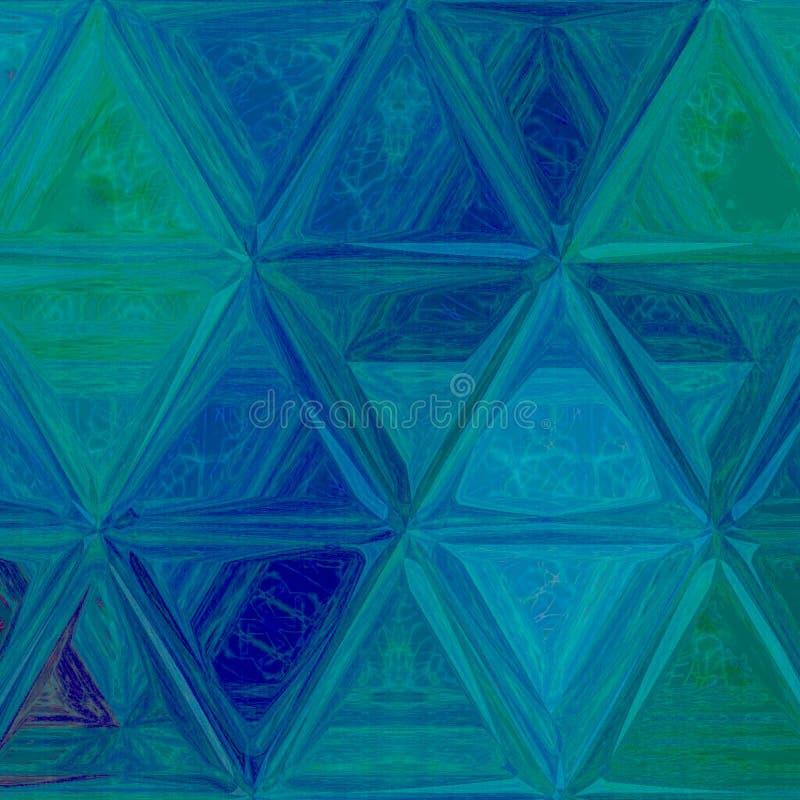 Mosaico poligonal en el trullo, turquesa, triángulos azules con efecto de la acuarela libre illustration