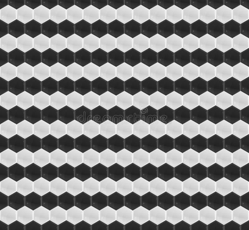Mosaico preto e branco do hexágono do teste padrão ilustração stock
