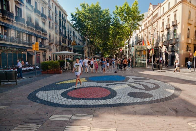 Mosaico Rambla Barcellona delle mattonelle di Miro immagine stock libera da diritti