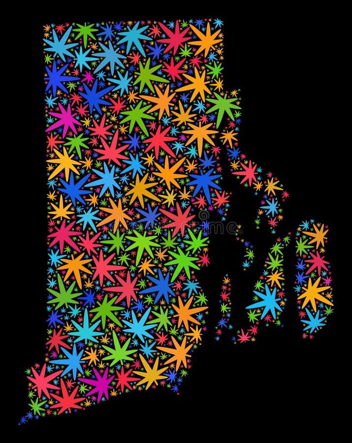 Mosaico Rhode Island State Map de las hojas coloreadas del cáñamo libre illustration
