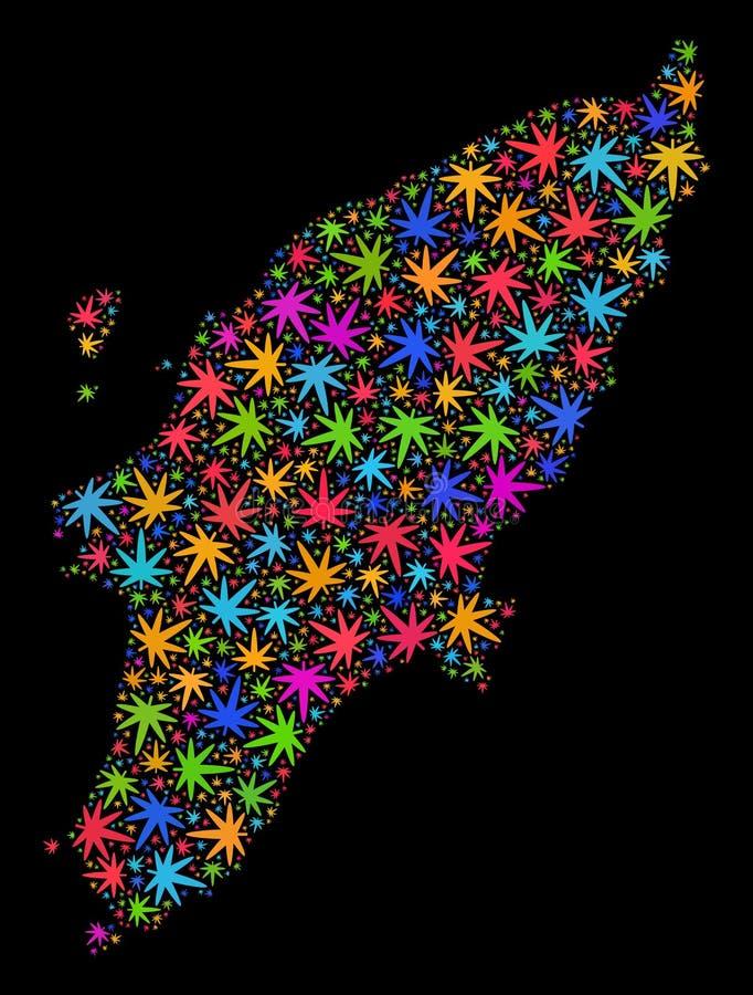 Mosaico Rhodes Island Map de las hojas multicoloras de la marijuana libre illustration
