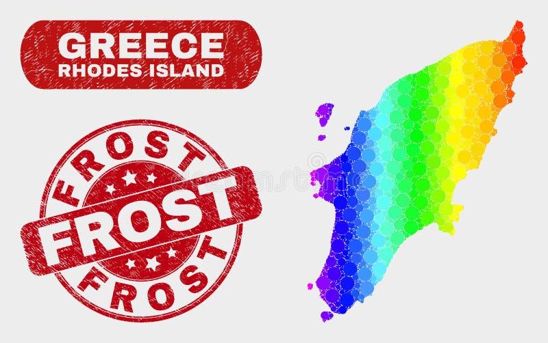 Mosaico Rhodes Island Map del espectro y sello de Frost de la desolación libre illustration
