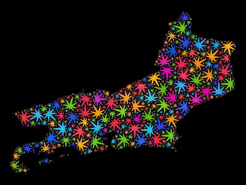 Mosaico Rio De Janeiro State Map de las hojas multicoloras del cáñamo ilustración del vector