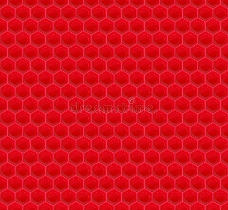 Mosaico rojo del hexágono del modelo ilustración del vector