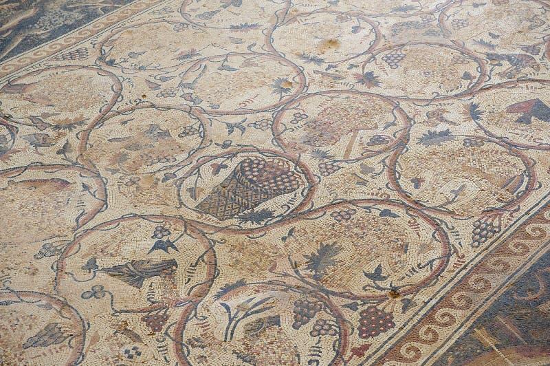 Mosaico romano antigo do assoalho nas ruínas de Saint Stevens Church em um local arqueológico Umm em AR-Rasas, Jordânia foto de stock royalty free