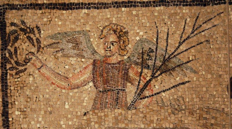 Mosaico romano antiguo de un ángel foto de archivo