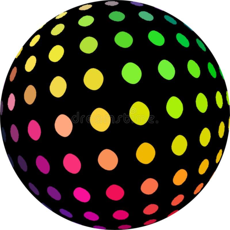 Mosaico rosado verde amarillo de los puntos en la bola negra 3d Colores retros ilustración del vector