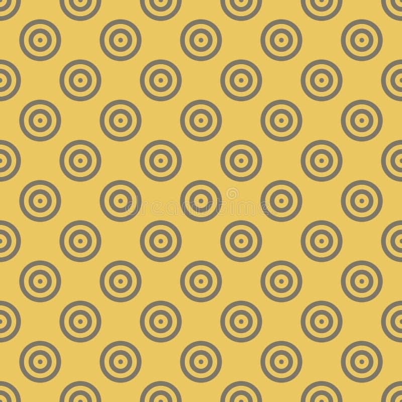 Mosaico senza cuciture del fondo astratto dei cerchi concentrici nella disposizione diagonale su fondo dorato Retro disegno royalty illustrazione gratis