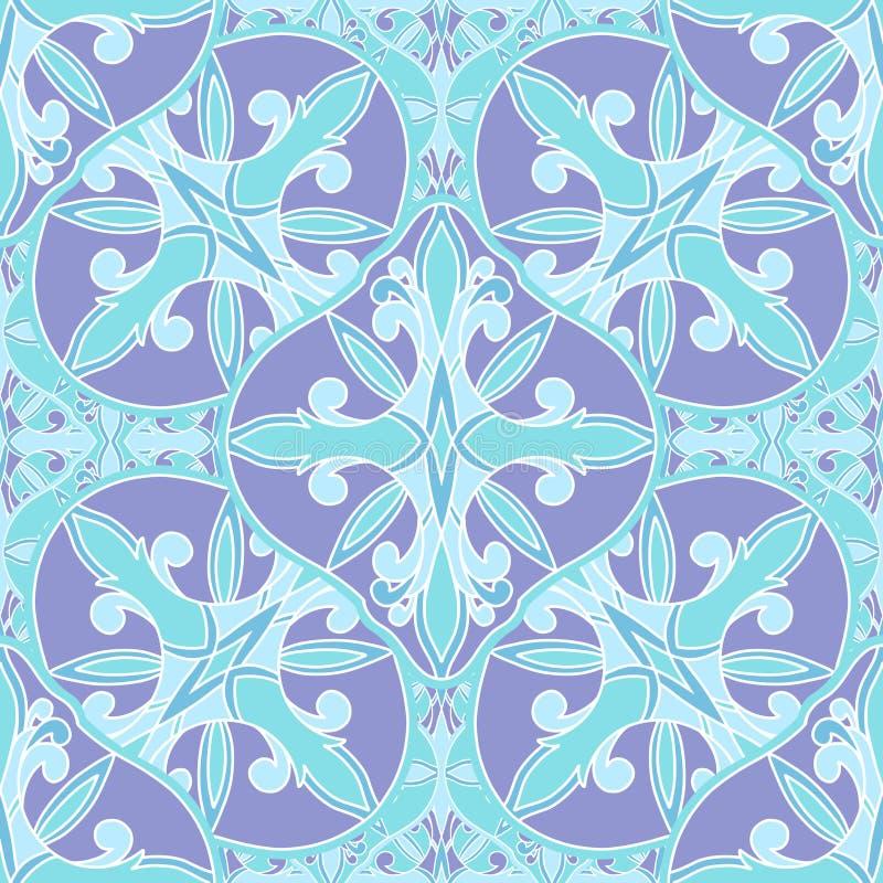 Mosaico senza cuciture orientale del modello Ornamento antico tradizionale Marocco ed Arabo Mattonelle etniche orientali della ge illustrazione di stock