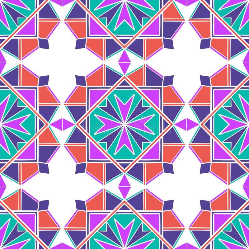 Mosaico senza cuciture orientale del modello Ornamento antico tradizionale Marocco ed Arabo Mattonelle etniche orientali della ge royalty illustrazione gratis