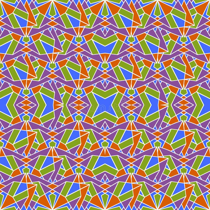 Mosaico senza cuciture orientale del modello Ornamento antico tradizionale Marocco ed Arabo Mattonelle etniche orientali della ge illustrazione vettoriale