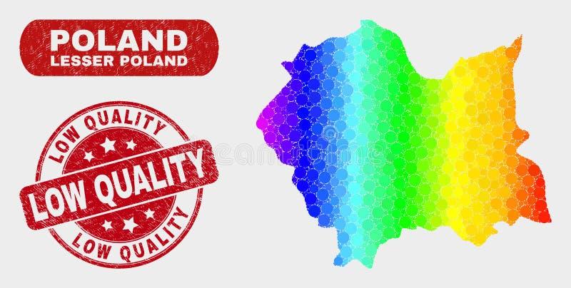 Mosaico spettrale Lesser Poland Voivodeship Map e filigrana scarsa qualità di lerciume royalty illustrazione gratis