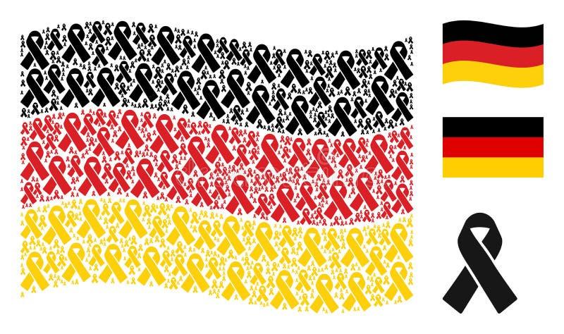 Mosaico tedesco d'ondeggiamento della bandiera delle icone di dolore del nastro royalty illustrazione gratis