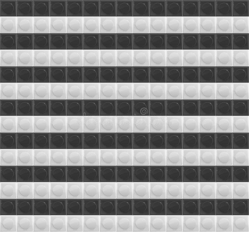 Mosaico Tetrahedral do teste padrão preto e branco ilustração stock