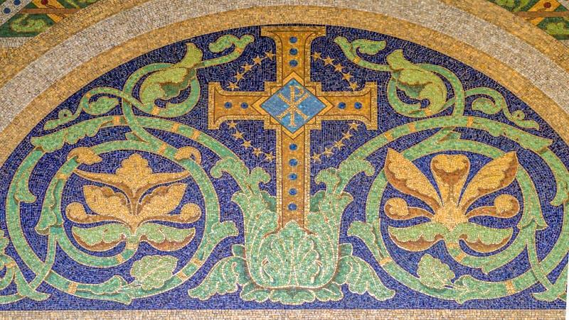 Mosaico trasversale cristiano fotografia stock