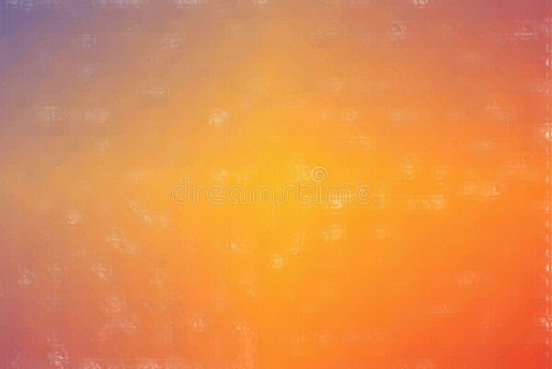 Mosaico variopinto blu ed arancio attraverso l'illustrazione del fondo dei mattoni di vetro royalty illustrazione gratis