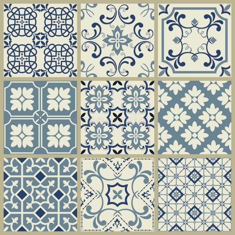 Mosaico velho retro geom?trico do teste padr?o do vetor da telha de Lisboa Azulejo, o portugu?s ou o espanhol das telhas, desig s ilustração do vetor