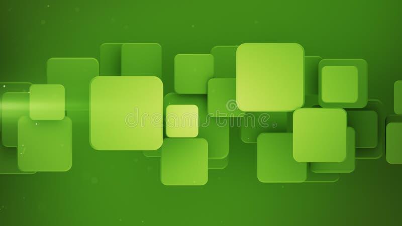 Mosaico verde geométrico con la representación de los cuadrados 3D ilustración del vector
