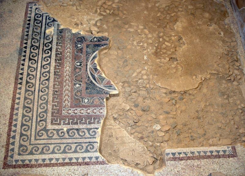 Mosaicos antigos e seu teste padrão fotografia de stock