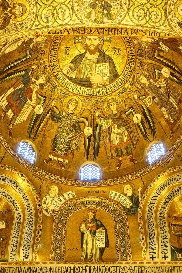 Mosaicos bizantinos en la capilla de Palatine fotografía de archivo