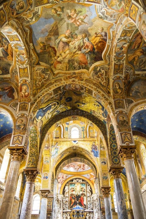 Mosaicos bizantinos hermosos en Palermo, Italia imágenes de archivo libres de regalías