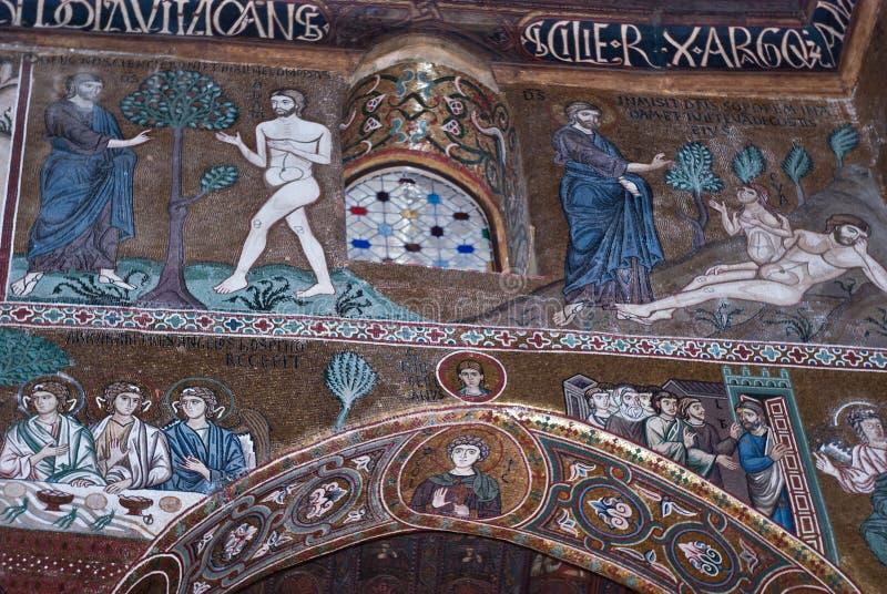 Mosaicos de Cappella Palatina. La capilla de Palatine en el Norma imagenes de archivo