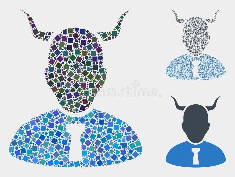 Mosaicos del icono del diablo de cuadrados y de círculos libre illustration