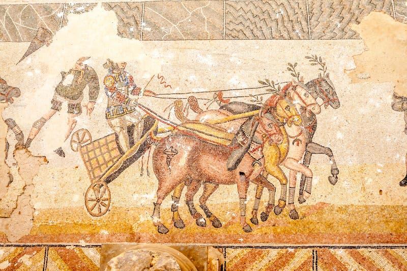 Mosaicos en el chalet Romana del Casale fotos de archivo libres de regalías