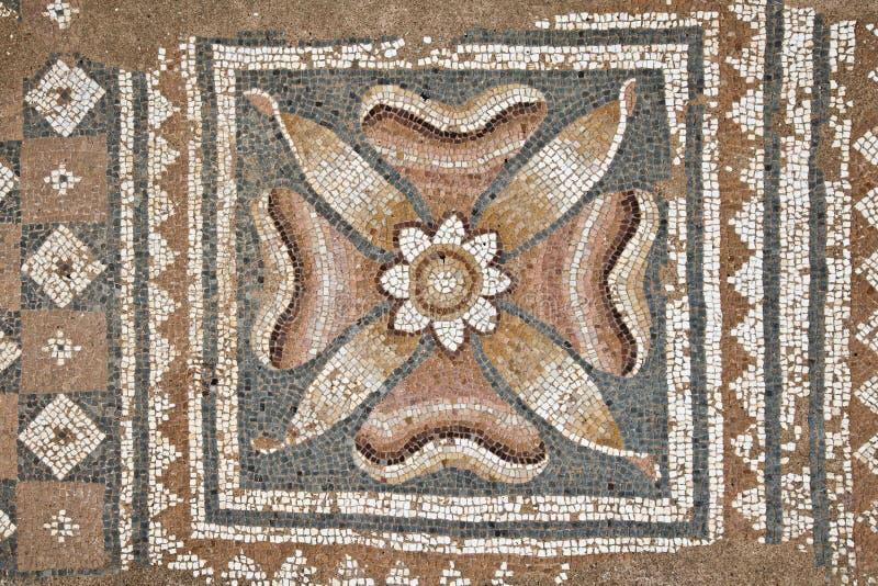 Mosaicos nos grandes banhos em Dion fotografia de stock royalty free