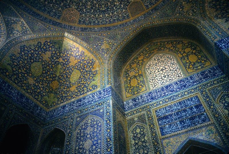 Mosaicos persas intricados, mesquita de Emam imagens de stock royalty free