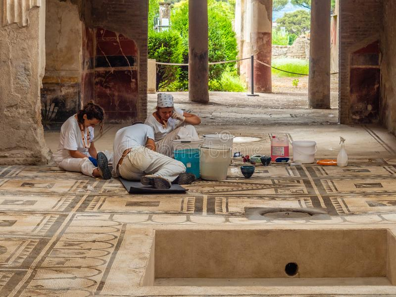Mosaicos romanos en Pompeya, Italia Lista del patrimonio mundial imágenes de archivo libres de regalías